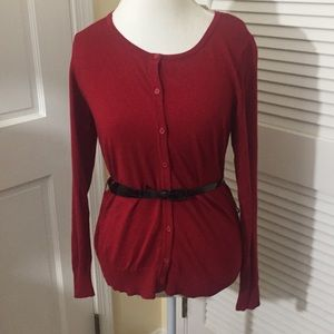 Red Cardigan Sweater with belt NWT